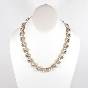 J. Crew Necklace Large Silver Rhinestone In Gold